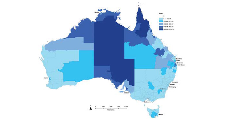 Figure 3: Map of laboratory confirmed influenza rates, 2009, by Statistical Area