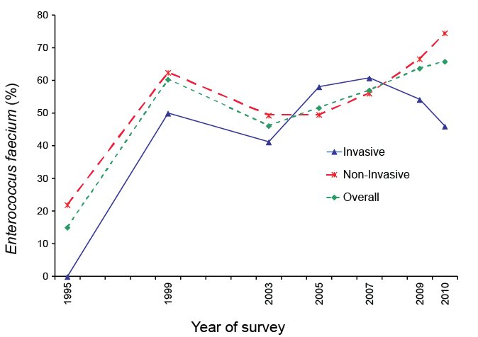 Percentage of Enterococcus faecium resistant to high-level gentamicin, by survey year. A text description follows.