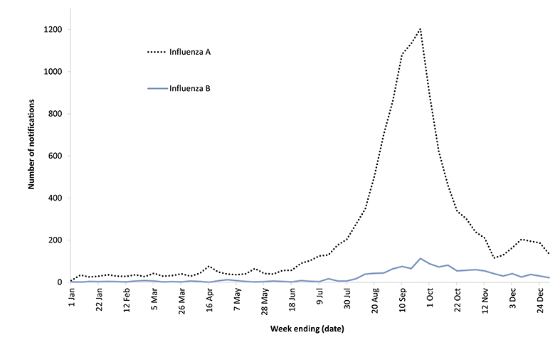 Figure 6: Number of influenza notifications reported to the National Notifiable Diseases Surveillance System, Australia, 2010, by type and week of diagnosis* The figure shows the number of influenza notifications per week by influenza type. The graph show