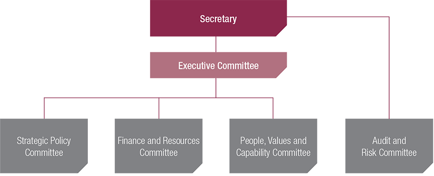 This image is a hierarchy structure chart of the new governance committee structure in the Department. The Secretary oversees all committees with the Executive Committee and the Audit and Risk Committee reporting directly. The Executive Committee directly oversees the Strategic Policy Committee, Finance and Resources Committee, People, Values and Capability Committee.