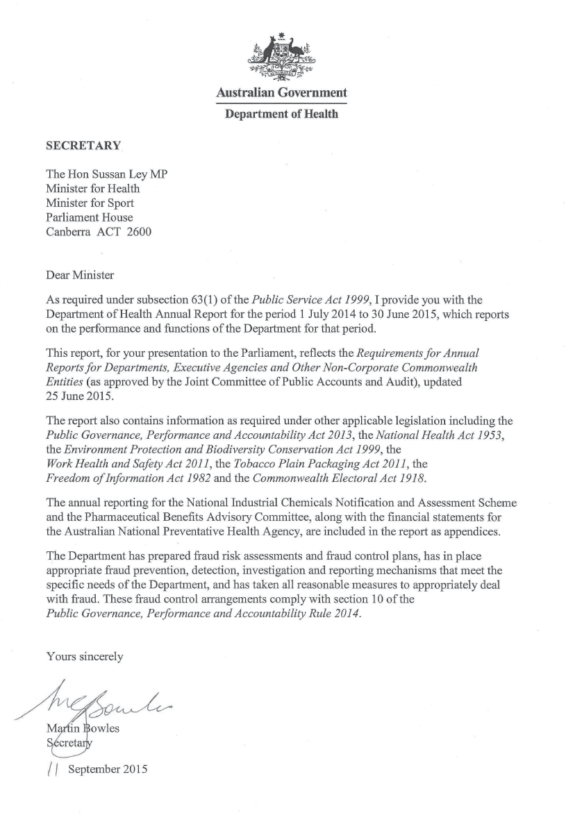 Department of Health | Letter of Transmittal